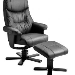 Roxy lænestol med skammel – ægte læder